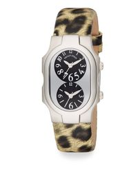 Philip Stein | Multicolor Signature Stainless Steel & Leopard-Print Leather Dual Time Zone Watch | Lyst