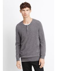 Vince - Black Wool Cashmere Stitch-mix Moto Henley Sweater for Men - Lyst