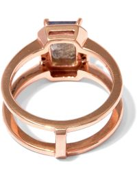 Anna Sheffield - Metallic Rose Gold Labradorite Attelage Diamond Ring - Lyst