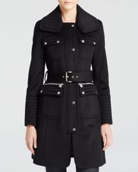 Laundry by Shelli Segal | Black Belted Military Wool Coat | Lyst