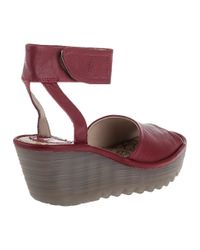 Fly London - Yula Wedge Sandal Cherry Red Leather - Lyst