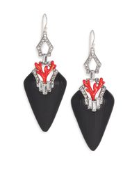 Alexis Bittar | Metallic Coral Deco Lucite, Crystal & Enamel Baguette Drop Earrings/black | Lyst