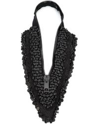 Vera Wang | Black Sequin Zipper Necklace | Lyst