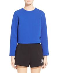 T By Alexander Wang | Blue Bonded Neoprene Logo Top | Lyst