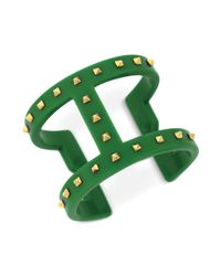 Vince Camuto - Green Studded T Bar Cuff Bracelet - Lyst