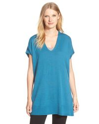 Eileen Fisher | Blue V-neck Merino Jersey Tunic Sweater | Lyst