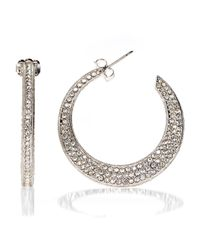 Nadri | Metallic Pavã© Flat Hoop Earrings | Lyst