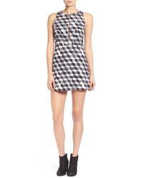 RVCA - Gray 'steady' Cube Print Dress - Lyst
