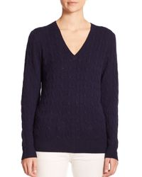 Polo Ralph Lauren | Blue Cashmere Cable-knit Sweater | Lyst
