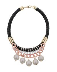 TOPSHOP | Pink Chunky Chain Large Stone Necklace | Lyst