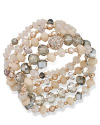 INC International Concepts - Pink Rose Gold-tone Crystal And Stone Stretch Bracelet Set - Lyst