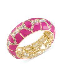Carolee - Goldtone Pink Enamel and Glass Stone Stretch Bangle Bracelet - Lyst
