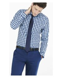 Express | Blue Modern Fit Check Shirt for Men | Lyst