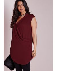 Missguided | Purple Plus Size Wrap Front Chiffon Top Burgundy | Lyst