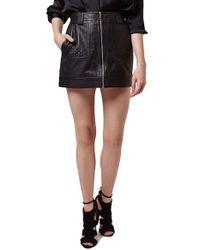 TOPSHOP Black Uber Leather Miniskirt
