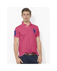 Polo Ralph Lauren - Pink Custom-fit Big Pony Polo for Men - Lyst