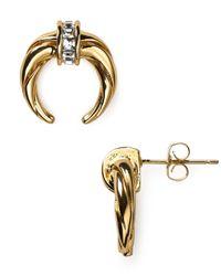 Rachel Zoe - Metallic Safari Mini Crescent Stud Earrings - Lyst
