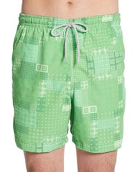 Saks Fifth Avenue | Green Patchwork-print Swim Trunks for Men | Lyst
