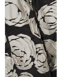 Oscar de la Renta - Black Floral Applique Belted Dress - Lyst