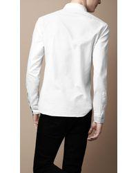 Burberry - White Button-down Cotton Shirt for Men - Lyst