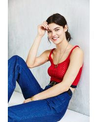 Kimchi Blue - Red Pointelle Cropped Tank Top - Lyst