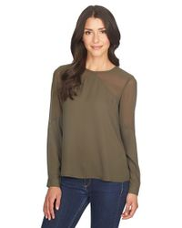 1.STATE | Green Long Sleeve Sheer Panel Blouse | Lyst