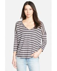 Velvet By Graham & Spencer | Gray Stripe Knit V-neck Tee | Lyst