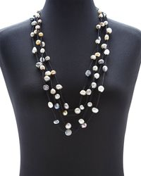 Gardenia | Black Suede  Freshwater Pearl Necklace | Lyst