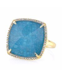 Anne Sisteron | Metallic 14kt Yellow Gold Apatite Diamond Cushion Cut Cocktail Ring | Lyst
