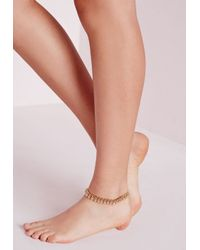 Missguided - Metallic Gold Ball Anklet - Lyst