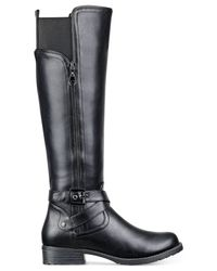 G by Guess - Black Halsey Wide Calf Riding Boots - Lyst