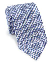 Ferragamo | Blue Greyhound Print Silk Tie for Men | Lyst