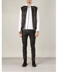 Balmain - Black Faux Leather Track Trousers for Men - Lyst