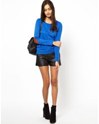 Glamorous | Blue Knit Jumper with Elbow Patch | Lyst