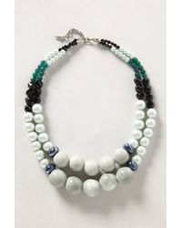 Anthropologie - Green Strata Bead Necklace - Lyst