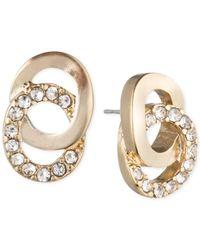 Anne Klein | Metallic Crystal Interlocking Circle Drop Earrings | Lyst
