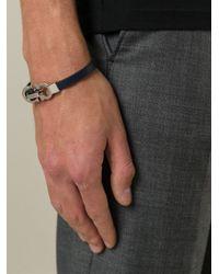 Ferragamo - Blue Gancini Bracelet for Men - Lyst