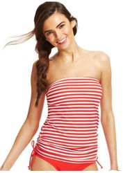 Tommy Hilfiger | Red Striped Bandeau Tankini Top | Lyst