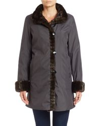 Gallery - Metallic Faux Fur-trimmed Button-front Coat - Lyst