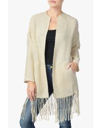 7 For All Mankind Natural Fringe Cocoon Coat In Cream