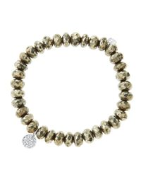 Sydney Evan - Metallic 8Mm Faceted Champagne Pyrite Beaded Bracelet With Mini White Gold Pave Diamond Disc Charm (Made To Order) - Lyst