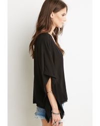 Forever 21 | Black Lace-up Embroidered Crop Top | Lyst