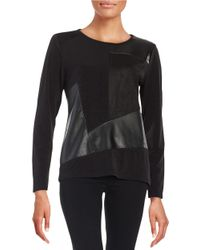 Calvin Klein | Black Faux Suede And Leatherette Patchwork Top | Lyst