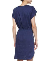 Vince - Blue Short-sleeve Drawstring Slub Dress - Lyst