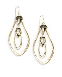 Alexis Bittar - Metallic Miss Havisham Orbiting Aura White Quartz & Pyrite Doublet Drop Earrings - Lyst