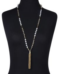 Natasha Couture | Metallic Gold-Tone & Faux Pearl Tassel Necklace | Lyst