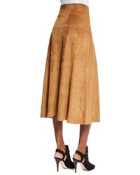 Ralph Lauren Collection - Brown Lace-up Suede A-line Skirt - Lyst