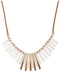 Lucky Brand | Metallic Gold-tone Faux Mother Of Pearl Paddle Frontal Necklace | Lyst
