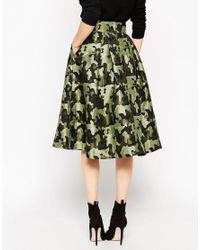 ASOS - Black Full Midi Skirt In Camouflage Jacquard - Multi - Lyst