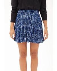 Forever 21 - Blue Windowpane Print Skater Skirt - Lyst